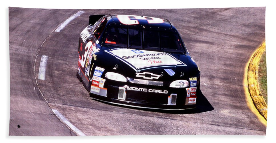 Dale Earnhardt Bath Sheet featuring the photograph Dale Earnhardt # 3 Goodwrench Chrvrolet 1999 At Martinsville by David Bryant