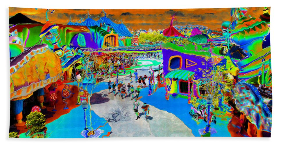 Art Bath Sheet featuring the painting Dali Land by David Lee Thompson