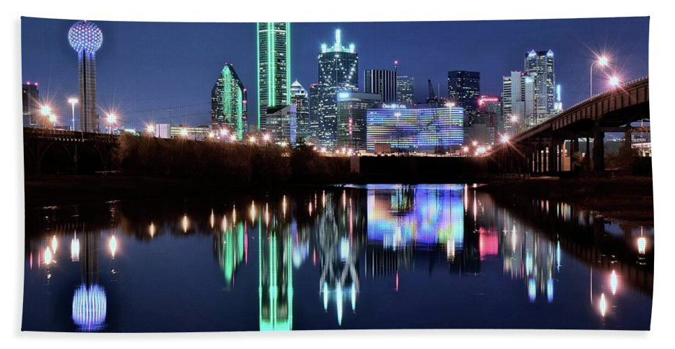 Dallas Hand Towel featuring the photograph Dallas Dark Blue Night by Frozen in Time Fine Art Photography