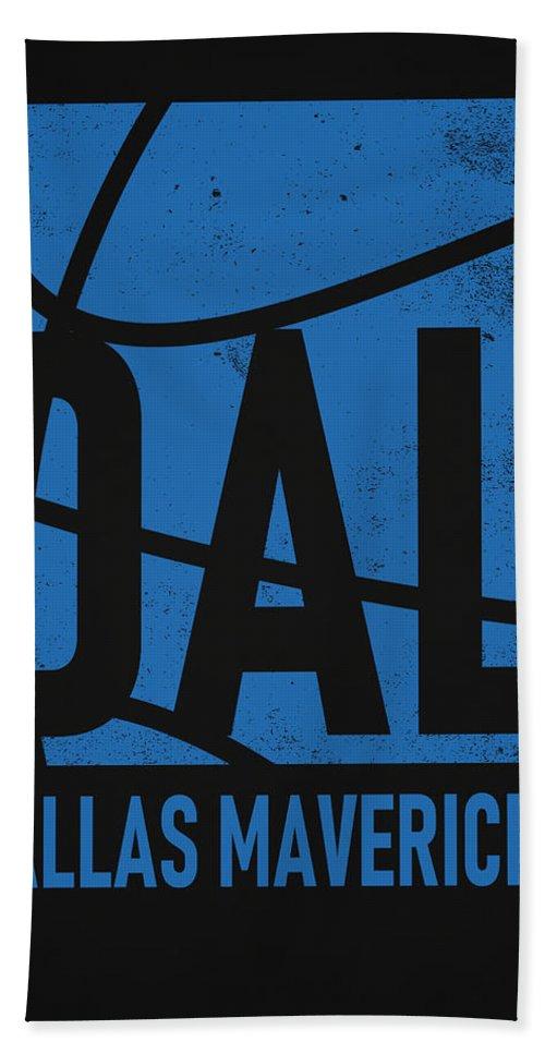 Mavericks Bath Towel featuring the mixed media Dallas Mavericks City Poster Art by Joe Hamilton