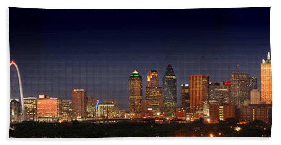 Dallas Skyline Night Hand Towel featuring the photograph Dallas Skyline At Dusk Big Moon Night by Jon Holiday