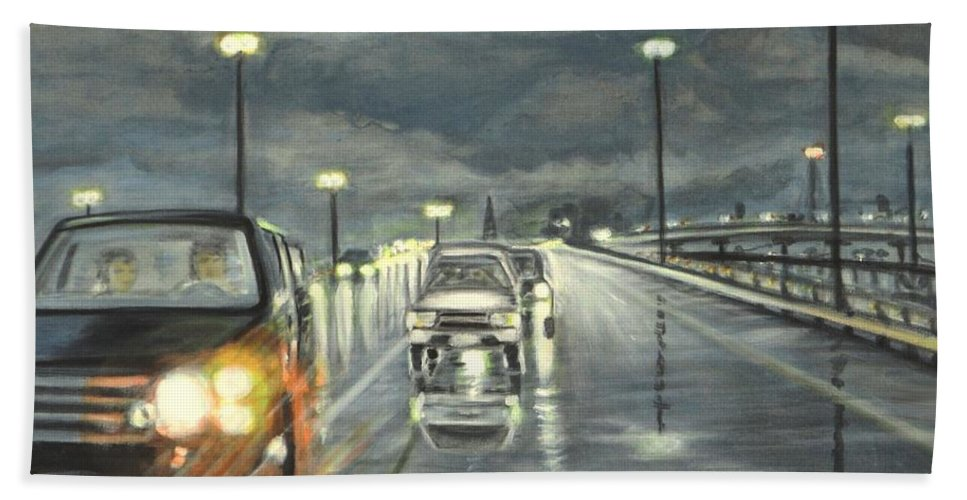 Dallas Bath Towel featuring the painting Dallas Traffic by Usha Shantharam