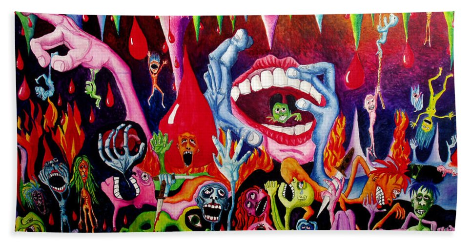 Hell Bath Towel featuring the painting Damnation Of The Evil by Nancy Mueller