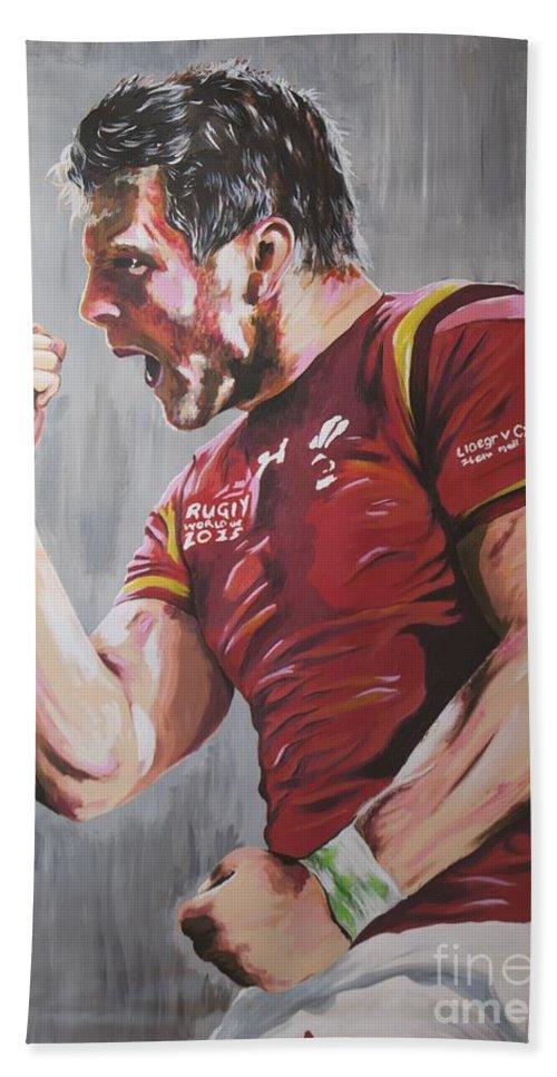 Dan Bath Sheet featuring the painting Dan Biggar by Jamie Bishop
