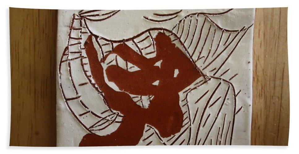 Jesus Hand Towel featuring the ceramic art Dance - Tile by Gloria Ssali