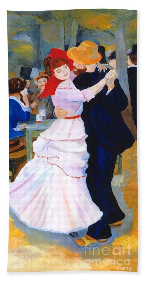 Dance At Bougival Hand Towel featuring the painting Dance At Bougival After Renoir by Rodney Campbell