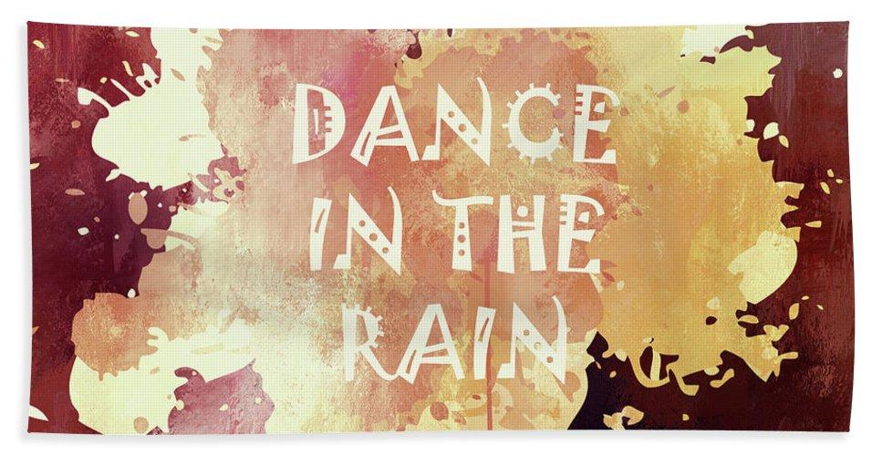 Dance In The Rain Red Bath Sheet featuring the mixed media Dance In The Rain Red Version by Georgiana Romanovna