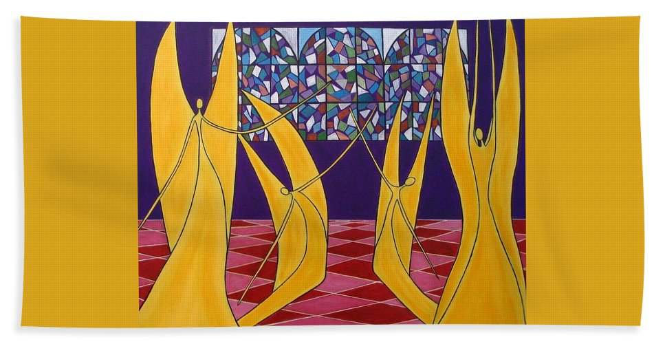 Dance Of Angels Bath Towel featuring the painting Dance Of Angels by Sandra Marie Adams