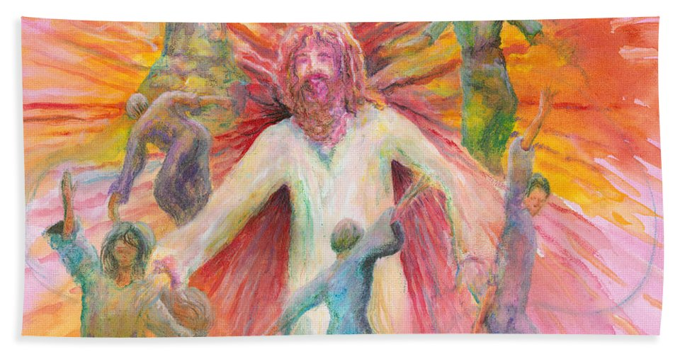 Jesus Bath Towel featuring the painting Dance of Freedom by Nadine Rippelmeyer