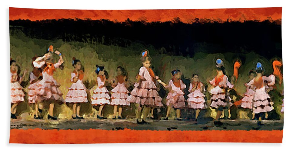 Casares Bath Sheet featuring the mixed media Dance Of La Ninos by Chris North