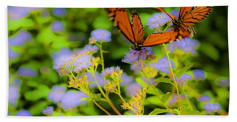 Heron Heaven Bath Sheet featuring the photograph Dance Of The Butterflies by Edward Peterson