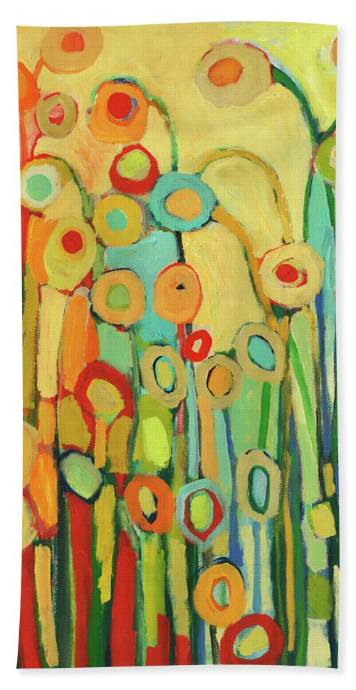 Floral Bath Towel featuring the painting Dance of the Flower Pods by Jennifer Lommers