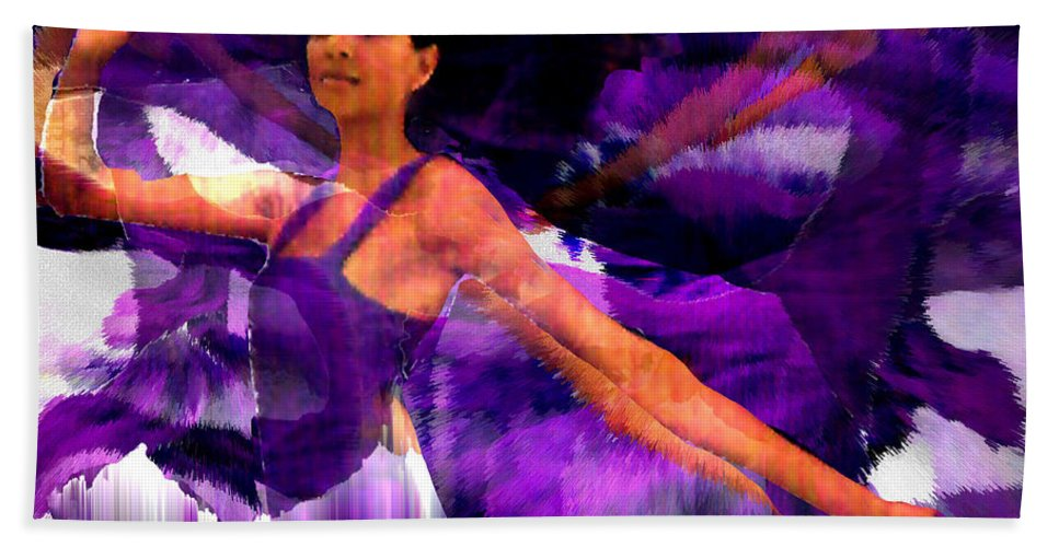 Mystical Hand Towel featuring the digital art Dance of the Purple Veil by Seth Weaver