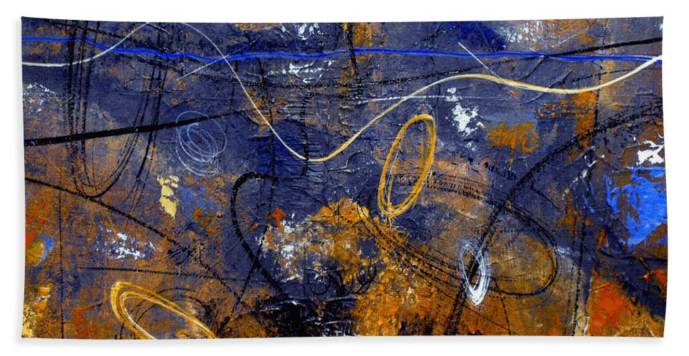 Abstract Bath Sheet featuring the painting Dance The Night Away by Ruth Palmer