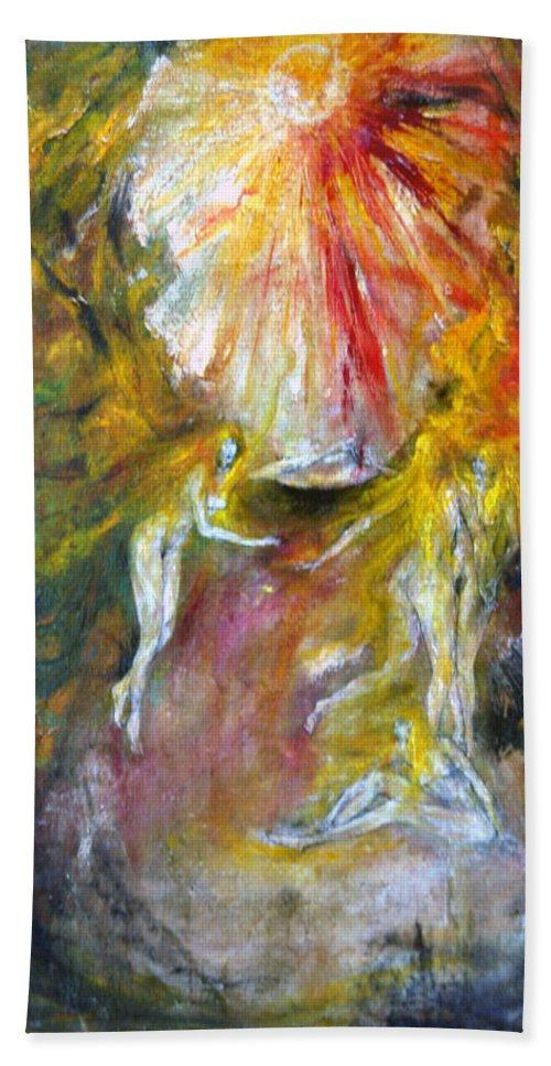 Imagination Hand Towel featuring the painting Dance by Wojtek Kowalski