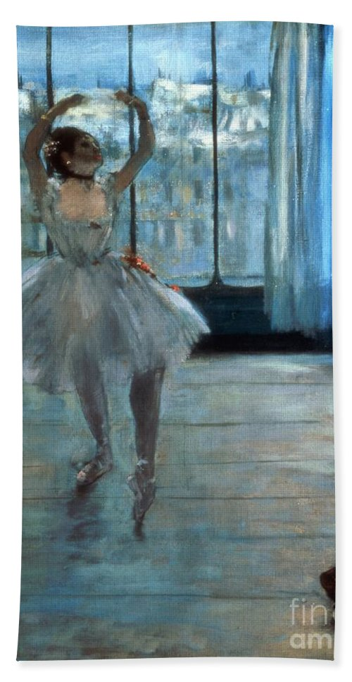 Dancer Bath Towel featuring the painting Dancer In Front Of A Window by Edgar Degas