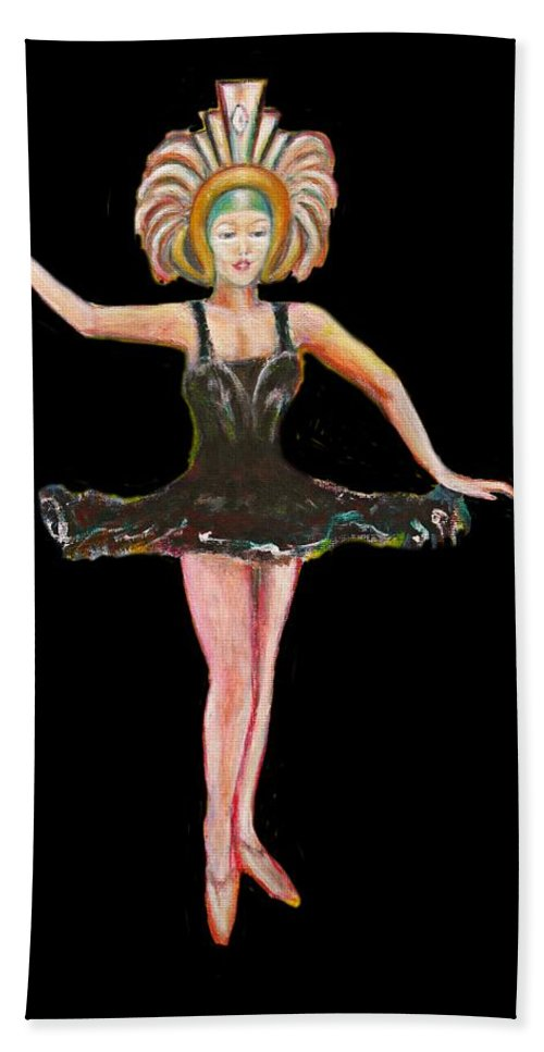 Dance Bath Towel featuring the painting Dancer in the Black Tutu by Tom Conway