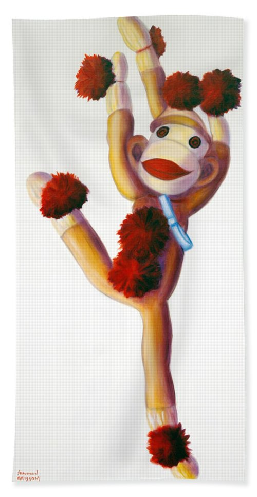 Dancer Hand Towel featuring the painting Dancer Made Of Sockies by Shannon Grissom