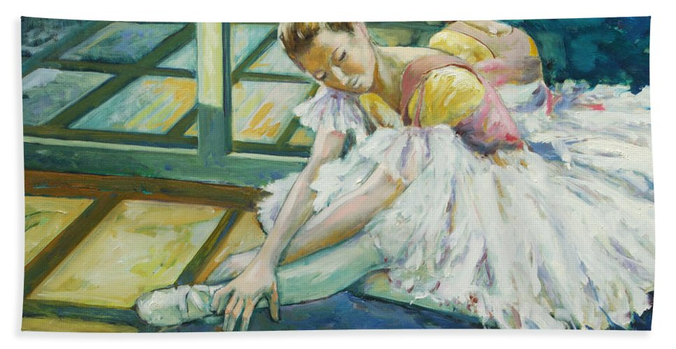 Glass Bath Towel featuring the painting Dancer by Rick Nederlof