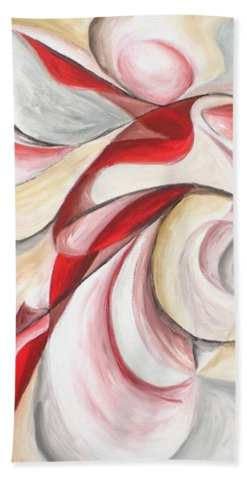 Abstract Bath Sheet featuring the painting Dancer by Rowena Finn