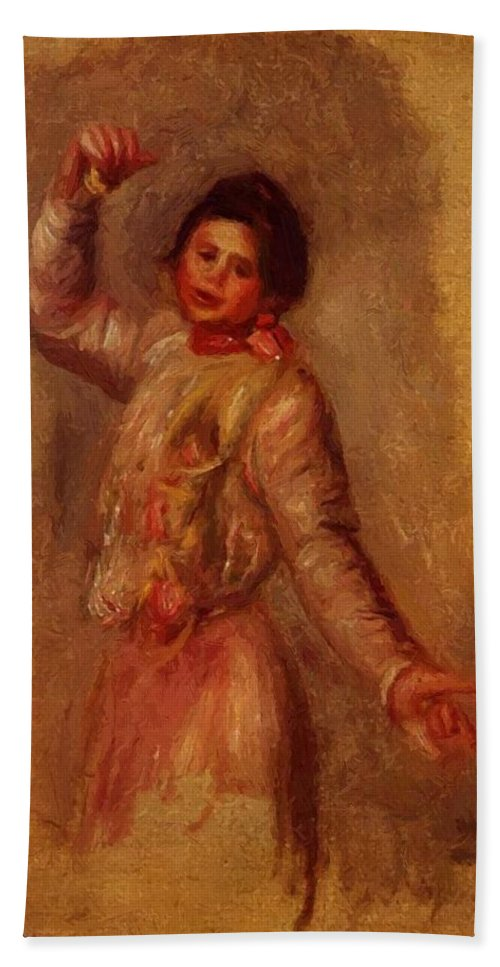 Dancer Hand Towel featuring the painting Dancer With Castenets 1895 by Renoir PierreAuguste