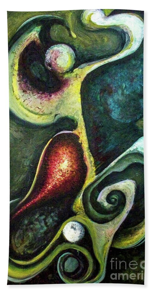 Abstract Hand Towel featuring the painting Dancers by Heather Joi