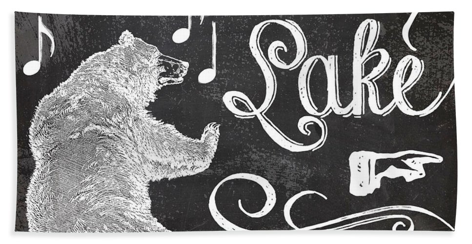 Dancing Bear Lake Hand Towel featuring the painting Dancing Bear Lake Rustic Cabin Sign by Mindy Sommers