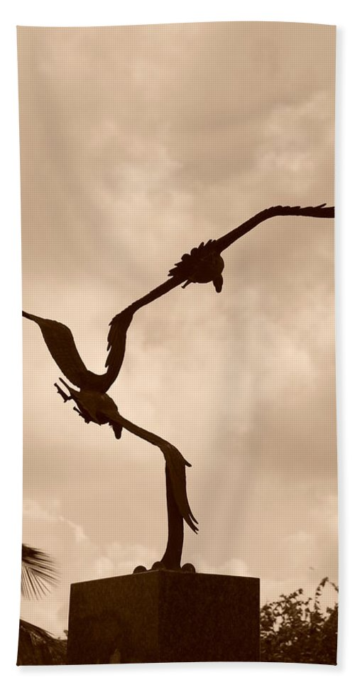 Sepia Bath Sheet featuring the photograph Dancing Birds by Rob Hans