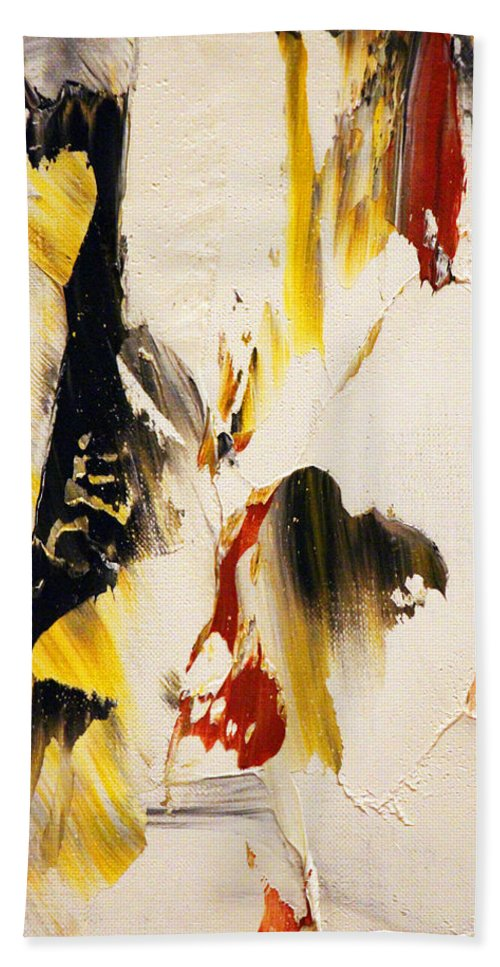 Abstract Bath Sheet featuring the painting Dancing Colors by Munir Alawi