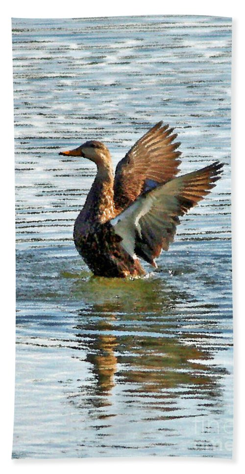 Mottled Teal Hand Towel featuring the photograph Dancing Duck by Carol Groenen