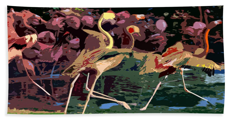 Flamingos Hand Towel featuring the painting Dancing Flamingos by David Lee Thompson