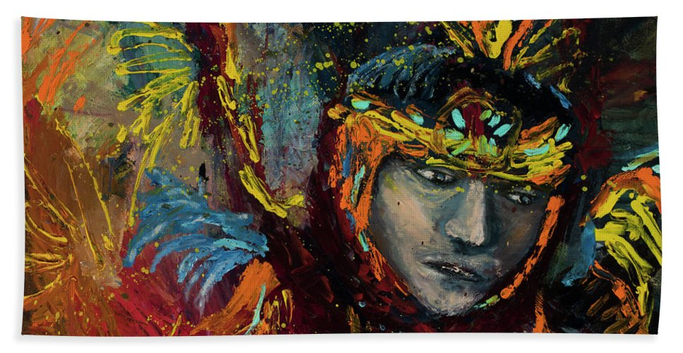 Indian Bath Sheet featuring the painting Dancing In Color by Jodi Monahan