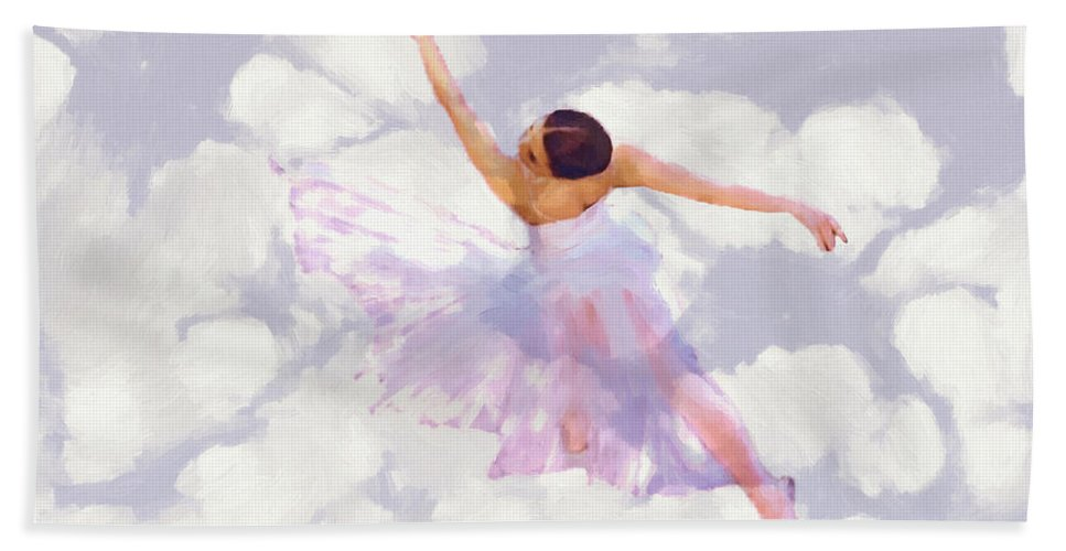 Ballet Dancer Dancing Female Woman Girl Romance Romantic Ballerina Bath Sheet featuring the painting Dancing In The Clouds by Steve K