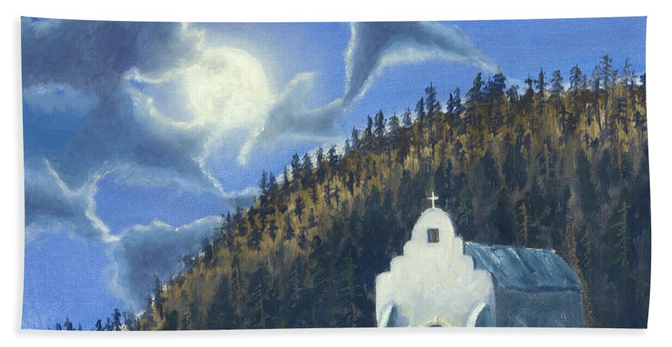 Landscape Bath Towel featuring the painting Dancing In The Moonlight by Jerry McElroy