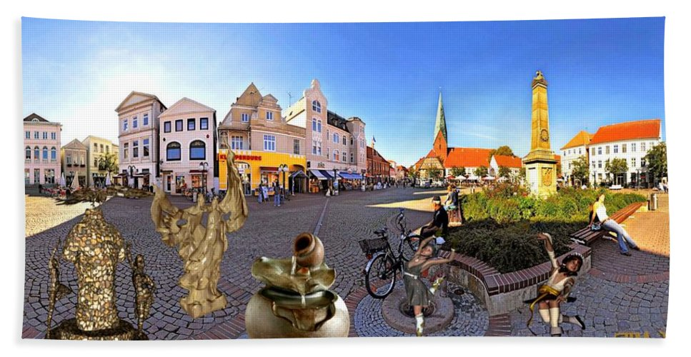 Modern Painting Hand Towel featuring the mixed media Dancing In The Square by Pemaro