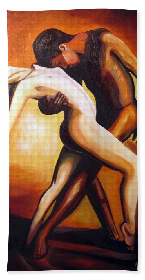 Nude Bath Sheet featuring the painting Dancing by Jose Manuel Abraham