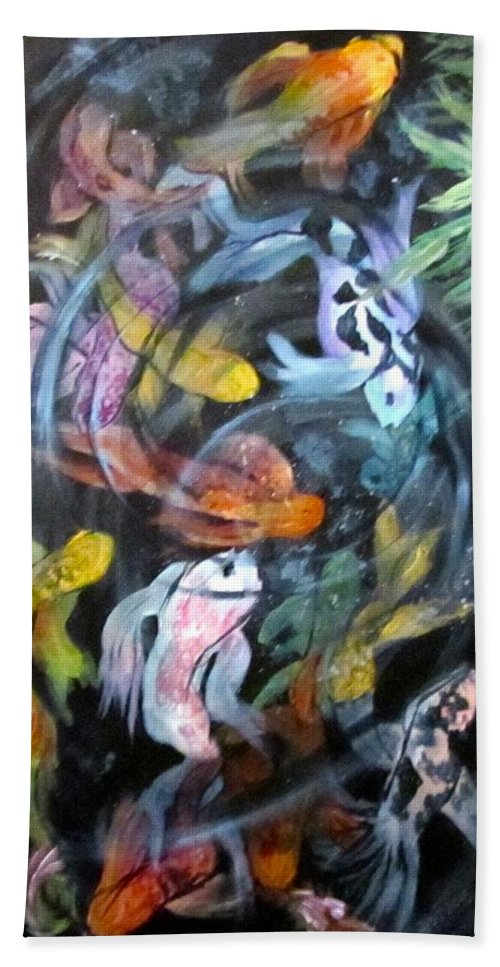 Koi Hand Towel featuring the painting Dancing Koi by Barbara O'Toole