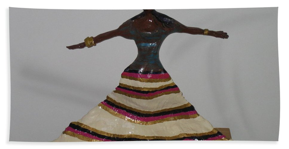 Jesus Hand Towel featuring the sculpture Dancing Lady by Gloria Ssali