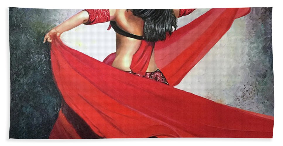 Belly Dancing Bath Sheet featuring the painting Dancing Lady by Jose Manuel Abraham