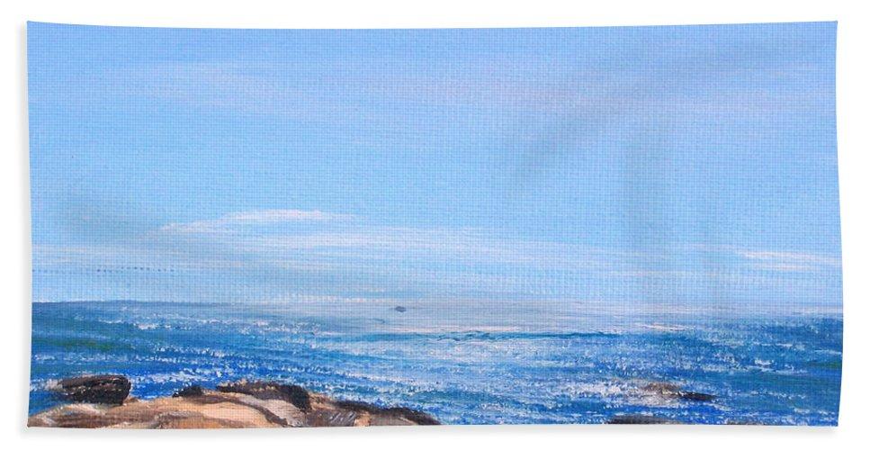 Seascape Bath Sheet featuring the painting Dancing Light by Lea Novak