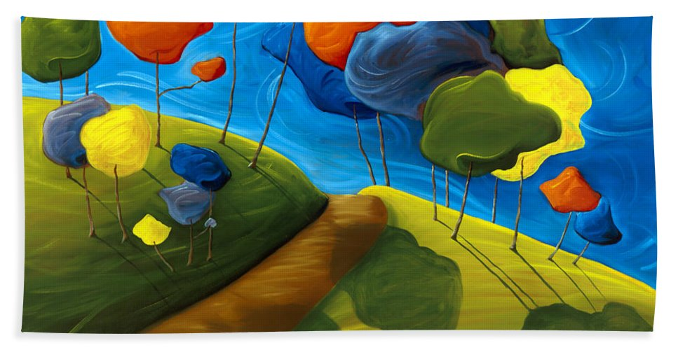 Landscape Bath Towel featuring the painting Dancing Shadows by Richard Hoedl