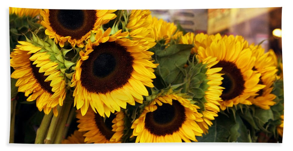 Sunflower Bath Sheet featuring the photograph Dancing Sunflowers by Madeline Ellis