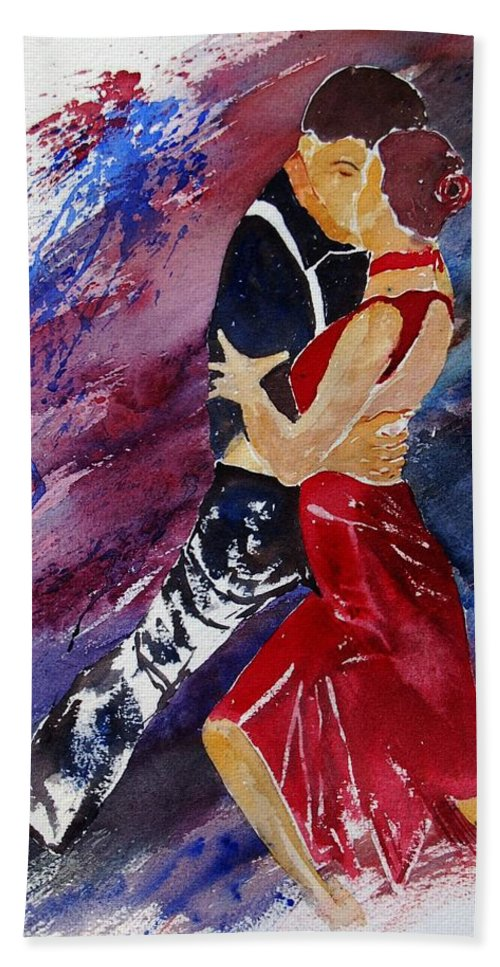 Tango Hand Towel featuring the painting Dancing Tango by Pol Ledent