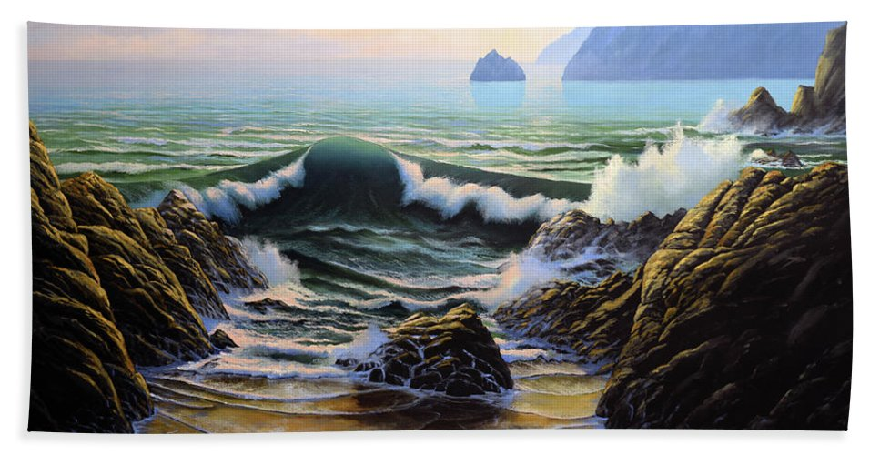 Dancing Tide Bath Towel featuring the painting Dancing Tide by Frank Wilson