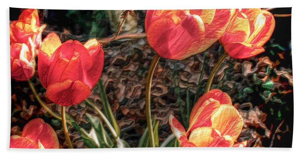 Flowers Bath Sheet featuring the photograph Dancing Tulips by Pennie McCracken