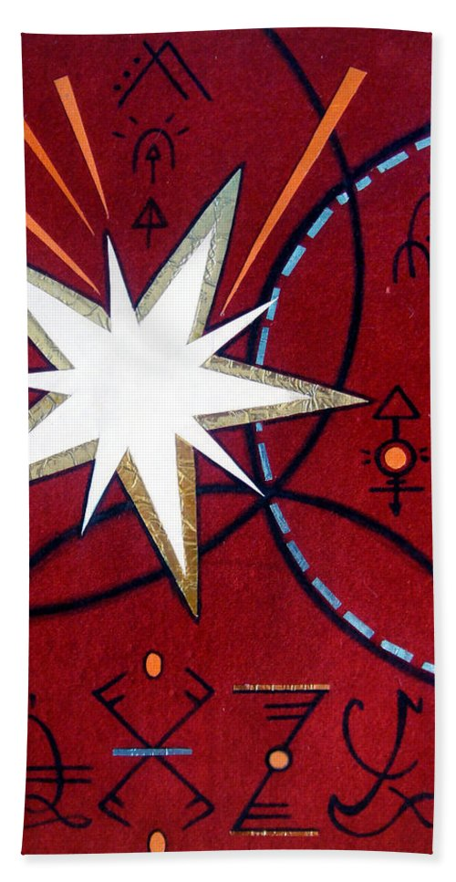 Dark Hand Towel featuring the painting Magical Star And Symbols. Part 1 by Sofia Metal Queen