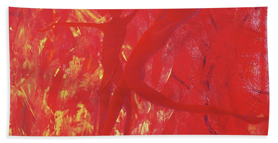 Dancing With Fire Bath Sheet featuring the painting Dancing With Fire Rainbow Soul Collection by Catt Kyriacou