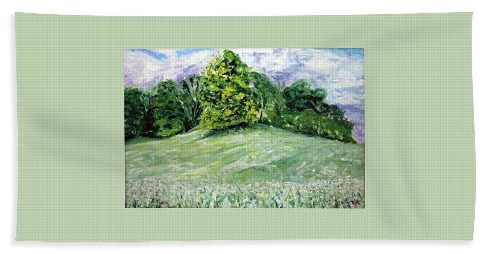 Landscape Hand Towel featuring the painting Dandelions by Pablo de Choros