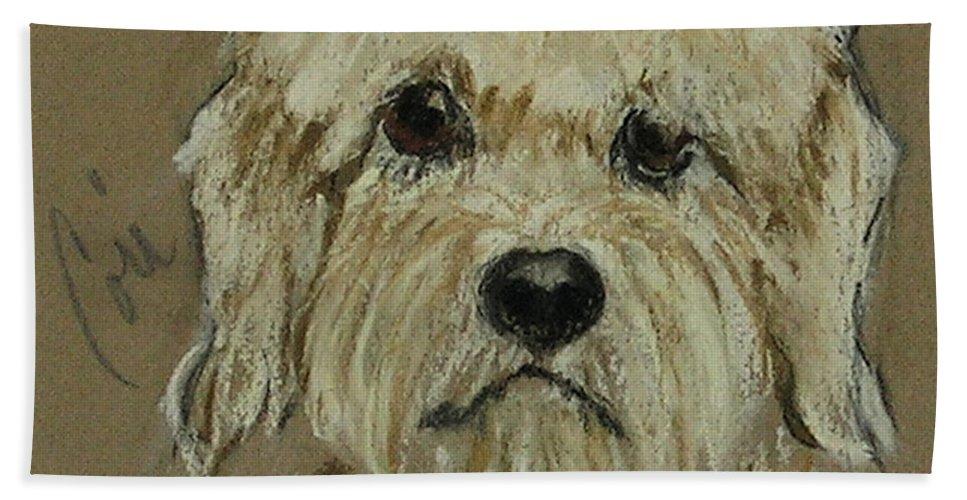 Dandie Dinmont Terrier Bath Sheet featuring the drawing Dandie by Cori Solomon