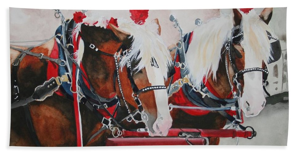 Horse Hand Towel featuring the painting Dandy Duo by Jean Blackmer